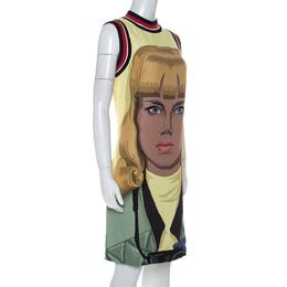 Prada Yellow Face Print Crepe Sleeveless Knee Length Dress S 232783