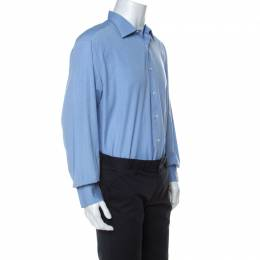 Brioni Blue Cotton Button Front Regular Fit Shirt XXXL