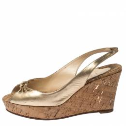 Christian Louboutin Metallic Gold Leather Slingback Wedge Sandals Size 41.5 232305