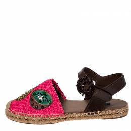 Dolce&Gabbana Pink Raffia And Brown Leather Pineapple Kiwi Patch Espadrilles Size 40 233147