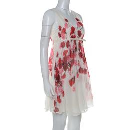Giambattista Valli Off White Floral Printed Silk Lace Underlay Sleeveless Dress S