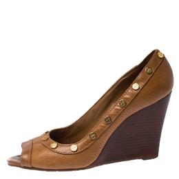 Tory Burch Brown Leather Reva Logo Studded Peep-Toe Wedge Pumps Size 39.5