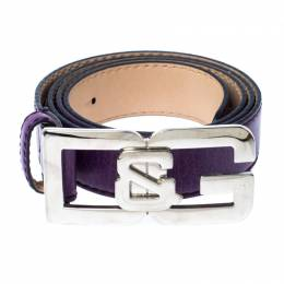 D&G Purple Leather Buckle Logo Belt 95CM Dandg 233077