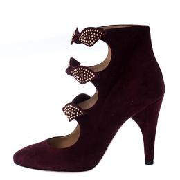 Chloe Burgundy Suede Embellished Bow Ankle Strap Sandals Size 36 233070