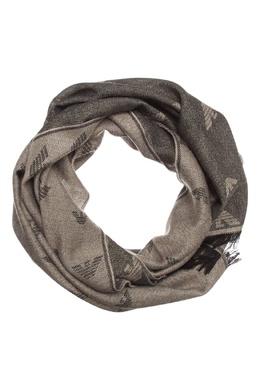 Серый меланжевый шарф с отделкой Emporio Armani 2706154250