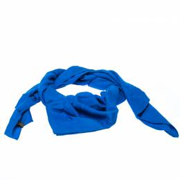 Must De Cartier Blue Panthere Monogram Wool and Silk Blend Square Scarf 232175