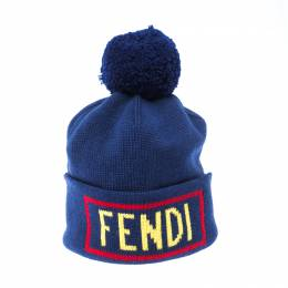 Fendi Blue Logo Intarsia Knit Wool Beanie ( One Size ) 233448