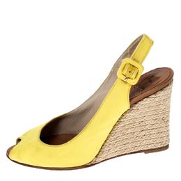 Christian Louboutin Yellow Canvas Wedge Peep Toe Slingback Sandals Size 36 232955