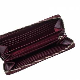 Coach Burgundy Patent Leather Zip Around Continental Wallet