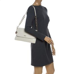 DKNY Cream Leather Envelope Shoulder Bag 229461