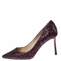 Jimmy Choo Purple Glitter Romy Pointed Toe Pumps Size 37.5