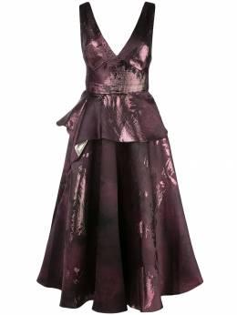 Marchesa Notte расклешенное платье с принтом металлик N33M1041
