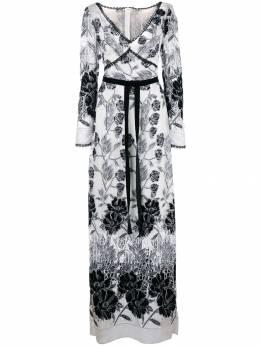 Marchesa Notte платье с цветочной вышивкой N34G1008