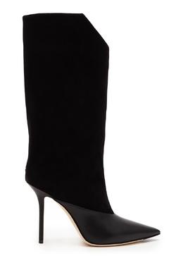 Черные кожаные сапоги с заклепками Bryndis 100 Jimmy Choo 25157254