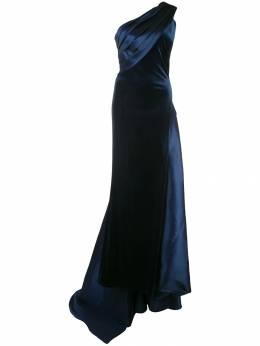 Tadashi Shoji вечернее платье из бархата и атласа на одно плечо BAL19908L