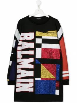 Balmain Kids платье с блестками и логотипом 6L1120LA300