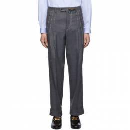Gucci Grey Wool Stitching Trousers 585283 ZACFM