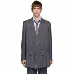 Gucci Grey Classic Sharkskin Double-Breasted Blazer 578790 ZACFM
