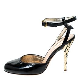 Roberto Cavalli Black Patent Leather Ankle Strap Sandals Size 36 234413