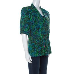 Escada Bicolor Leopard Print Cotton Short Sleeve Double Breasted Blazer L