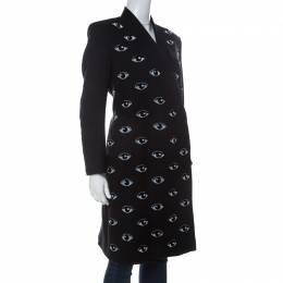 Kenzo Black Wool Blend Eye Embroidered Double Breasted Coat L