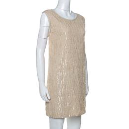 Chloe Beige Sequin Embellished Silk Sleeveless Shift Dress M