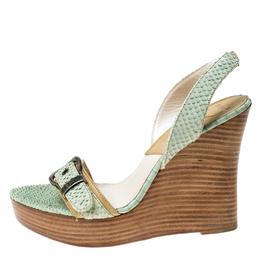 Christian Dior Green Python Embossed Leather Slingback Wedge Platform Slingback Sandals Size 38 234453