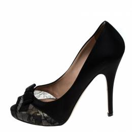 Valentino Black Lace And Satin Bow Peep Toe Platform Pumps Size 37.5
