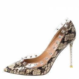 Valentino Beige/Brown Python Leather Rockstud Pointed Toe Pumps Size 36