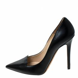 Jimmy Choo Black Leather Pointed Toe Pumps Size 37.5 233719