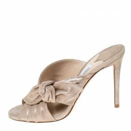 Jimmy Choo Metallic Beige Suede Keely Bow Open Toe Sandals Size 37.5