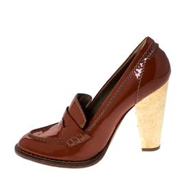 Dolce&Gabbana Dark Orange Patent Leather Loafer Pumps Size 39.5