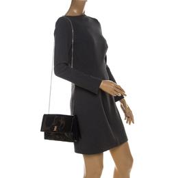 Salvatore Ferragamo Navy Blue Patent Leather Crossbody Bag 229858