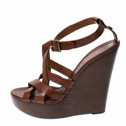 Burberry Brown Leather Strappy Wedge Platform Sandals Size 38 230246