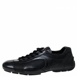 Prada Black Leather and Mesh Lace Up Sneakers Size 41 Prada Sport 230046
