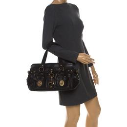 Coach Black Leather Turnlock Double Pocket Legacy Shoulder Bag