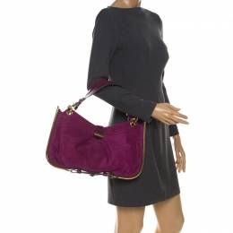 Jimmy Choo Purple Suede and Leather Alex Shoulder Bag