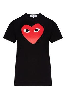 Черная футболка с принтом в виде сердца Comme Des Garcons Play 991156177