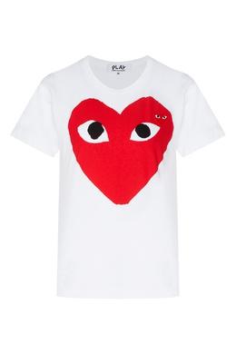 Футболка с принтом Double Large Hearts Comme Des Garcons Play 991156182