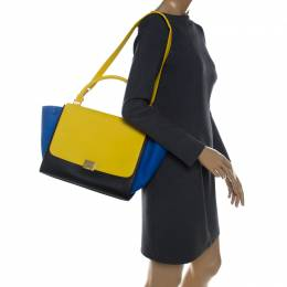 Celine Tri Color Leather Medium Trapeze Bag 232243