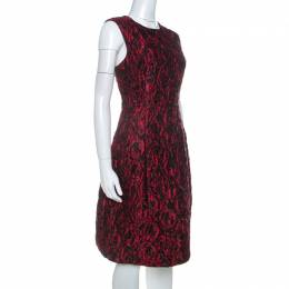 Carolina Herrera Red Floral Patterned Jacquard Sleeveless Sheath Dress L 234498