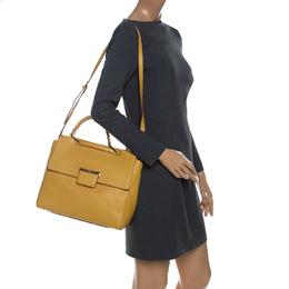 Furla Yellow Leather Artesia Creta Top Handle Bag