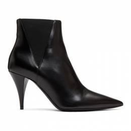 Saint Laurent Black Kiki Heeled Chelsea Boots 592447 1FZ00