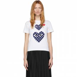 Comme Des Garcons Play White Polka Dot Double Heart T-Shirt P1T237
