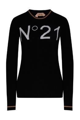 Черный джемпер с интарсией-логотипом No. 21 35157737
