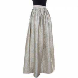 Max Mara Cream Lurex Floral Pattern Jacquard Long Skirt S 233832