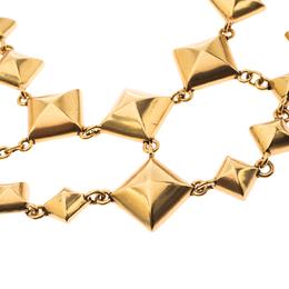 Oscar De La Renta Gold Tone Square Chain Link Necklace 233733