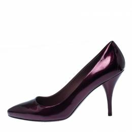 Miu Miu Burgundy Patent Leather Pointed Toe Pumps Size 38 233737