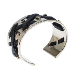 Tod's Black Leather Criss Cross Gold Tone Open Cuff Bracelet 233519