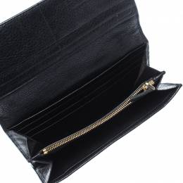 Escada Black Leather Flap Continental Wallet